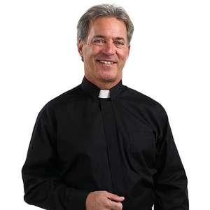 Mens Clerical Clergy Preacher Tab Collar Clergy Shirt Black 15 1/2