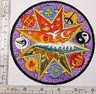 Large 5 In. Embroidered Patch Eyes of Buddha and Om / Aum Sacred