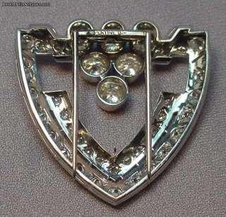 Carats Diamonds Platinum Signed Art Deco Brooch Clip