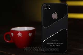 Black Deluxe Luxury Steel Aluminum Chrome Hard Case Cover For iPhone 4