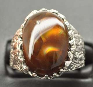 12.94 CT MEXICAN FIRE AGATE STERLING SILVER MENS RING, BIG GEM HEAVY