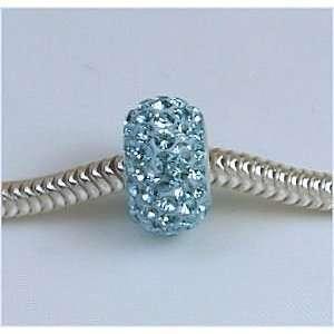 925 Sterling Silver Swarovski Aqua Tiffany Blue Crystal Pave opean