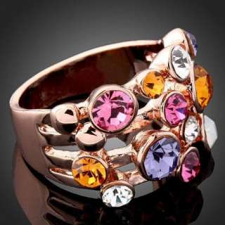Arinna Swarovski Crystal rose Gold GP finger cute Ring