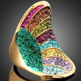 ARINNA Swarovski Crystal Colorful Gold GP Cocktail Ring
