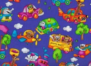 Animals Car Taxi School Bus Airplane Blue Cotton Fabric Yardage OOP