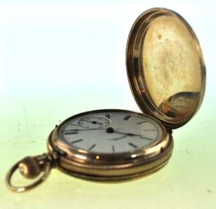1887 Elgin Pocket Watch Brooklyn Eagle 8K Solid Gold Hunters Case