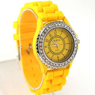 Yellow Silicone Crystal Students Teenagers Lady Girls Jelly Watch
