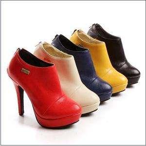 Women Pumps Ankle Short Boots Shoes Zipper Back High Heel AU All Size