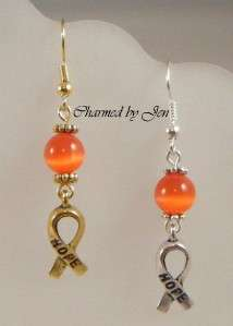 New MS MULTIPLE SCLEROSIS Awareness Cats Eye Earrings w/ HOPE Ribbon