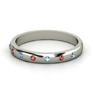 Button Band, Sterling Silver Ring with Red Garnet & Blue