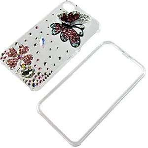 Pink Black Butterfly Crystal 3D Diamante Protector Case for iPhone 4S