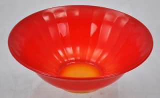 VTG Creamsicle to Red Art Glass Amberina Serving Bowl
