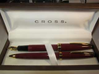 NEW CROSS CLASSIC 22KT GOLD & MAROON FOUNTAIN PEN & PENCIL GIFT BOX