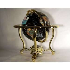 Onyx Ocean Table Top Gemstone Globe with Gold Stand