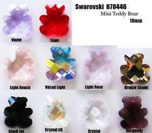 1pcs Violet Swarovski Crystal 18mm Teddy Mini Pendants