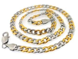 Stainless Steel Men Gold Silver Tone Cuban Pendant Necklace Chain Free