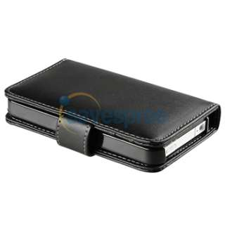Black Leather Pouch Wallet Case+PRIVACY LCD Filter Protector for