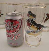 Hand Painted~Enameled Game Bird~Duck Soda~Beer Glasses~Czech?