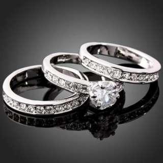 Hot sale 3 in 1 Swarovski Crystal White Gold GP Engagement Ring JYR043