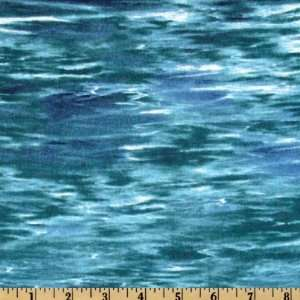 44 Wide Reel Em In Water Texture Deep Blue Fabric By