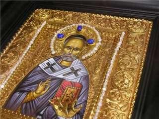 Silver Icon Saint St Nicholas Wood Framed Pearls Stones