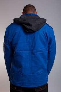 NEW MENS PJ MARK ROYAL BLUE HEAVY HOODED ZIP UP WINTER COAT JACKET