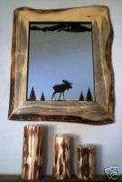 Rustic Pine Log Iron Wall Mirror, lodge cabin furniture |