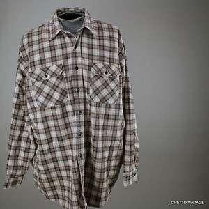 Vtg Mens DAVID TAYLOR Printed Plaid COTTON FLANNEL shirt 2XL