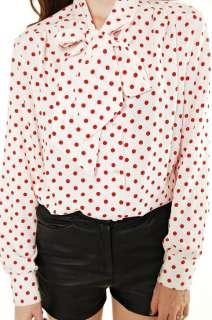Vtg 70s red POLKA DOT Print ASCOT Bow NECK Tie secretary Dress SHIRT