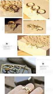 Fashion Goldtone Cross Love Heart Star Three Pcs Set Ring