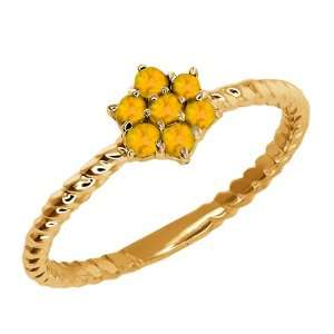 Round Citrine Gold Plated Sterling Silver Ring Jewelry
