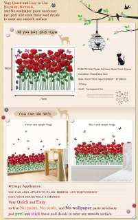PS58179 ROSE GARDEN Wall Deco Decal Decor Mural Sticker