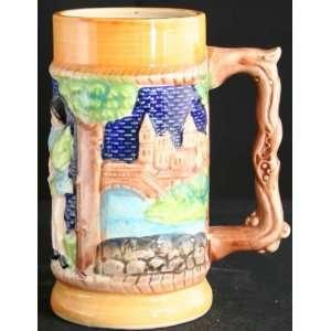 Vintage German Barware Ceramic Beer Stein Woman Man Castle