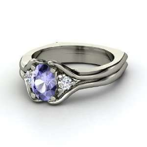 Stone Ring, Oval Tanzanite 14K White Gold Ring with Diamond Jewelry
