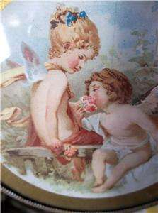 ANTIQUE YOUNG CHERUBS/ANGELS LITHO FLUE COVER *SALESMAN SAMPLE* HTF NR