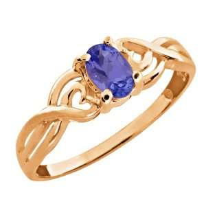 0.45 Ct Oval Blue Tanzanite Gold Plated Sterling Silver