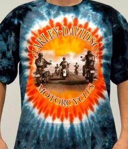 Harley Davidson Mens Sunset Riders Blue Tie Dye T Shirt