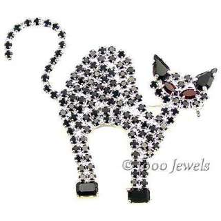 Black Cat Halloween Pin Swarovski Crystal Rhinestones