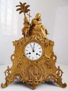Antique 19th c French S.Marti gilt ormolu bronze figural mantle clock