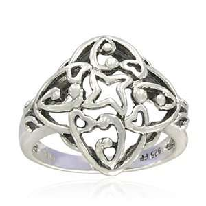 Sterling Silver Celtic Ornate Filigree Ring, Size 7 Jewelry