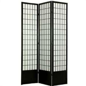 Oriental Furniture Window Pane Shoji Room Divider in Black