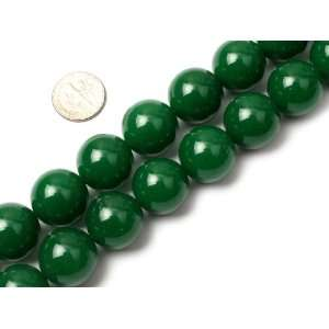 18mm Round Gemstone Dark Green Jade Beads Strand 15