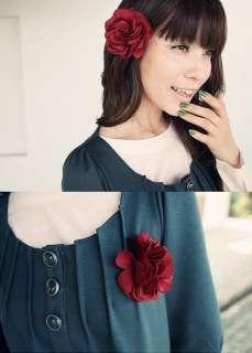 Feathers & Flowers Headband/Hair Clip/Brooch, Single Beige Flower 5