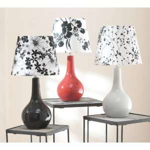 Set of 3 Super Chic Black & White Floral Silhouette Table Lamps 18