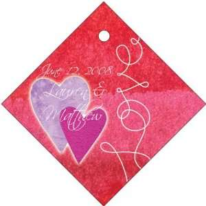 Wedding Favors Double Hearts on Red Background Diamond