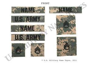Army Name Tape & Rank Set for ACU, Fleece & Cap