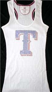 Studded Texas Rangers Bling Jersey Tank Top Tee T Shirt LONG SLEEVE