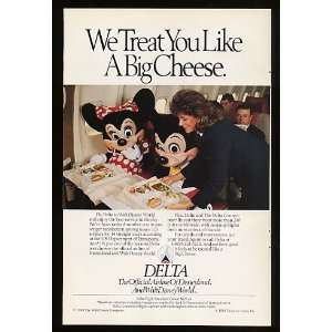 1989 Delta Airlines Mickey & Minnie Mouse Big Cheese Print