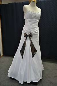 New White / CAMO WEDDING DRESS Taffeta Drop Waist Camouflage