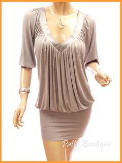 Gray Blue Ruched V Neck Dropped Waist Party Mini Dress